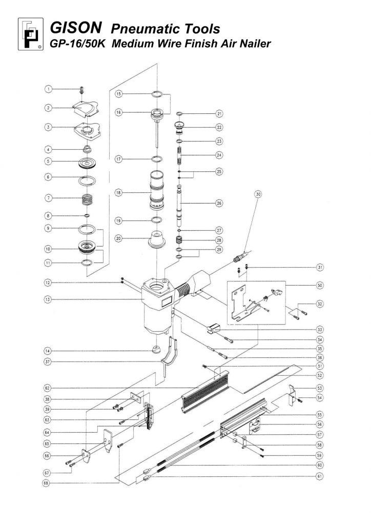 نقشه انفجاری میخکوب بادی GP-1650K
