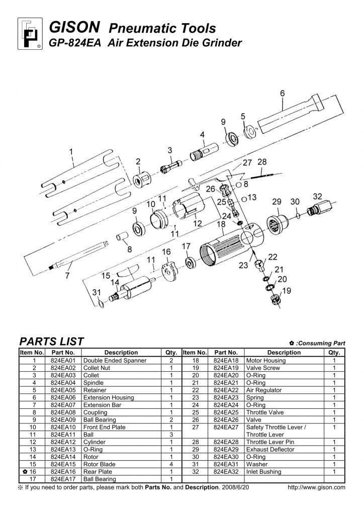 نقشه انفجاری فرز گلو بلند بادی GP-824EA