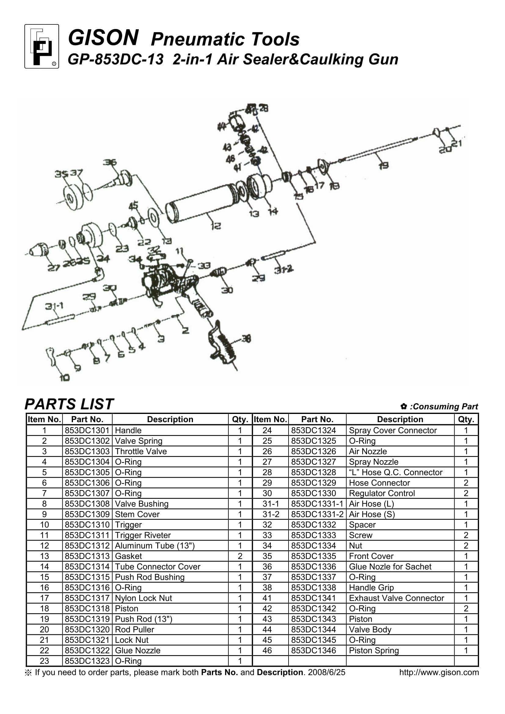 نقشه انفجاری چسب زن بادی GP-853DC