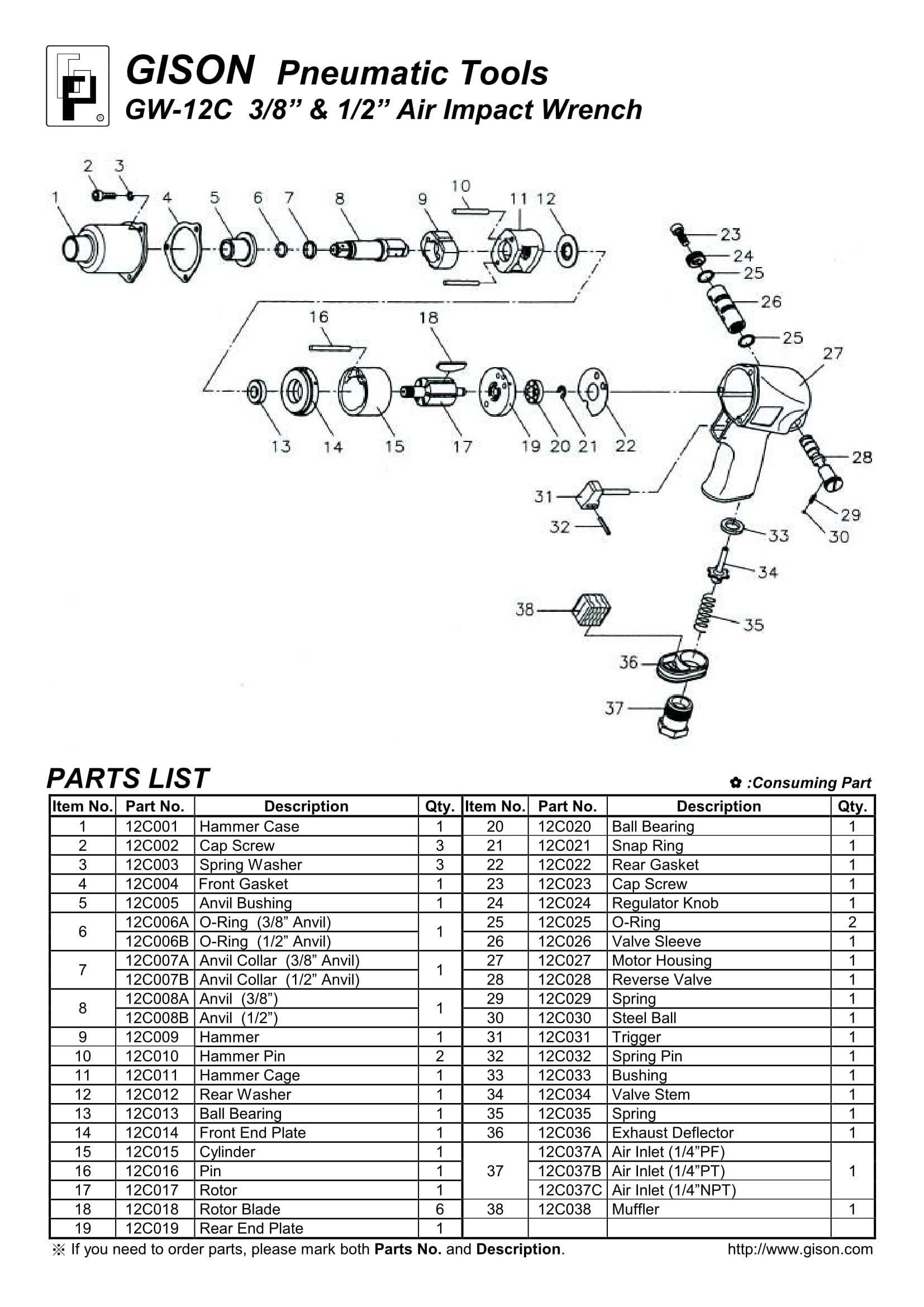 نقشه انفجاری بکس بادی GW-12C