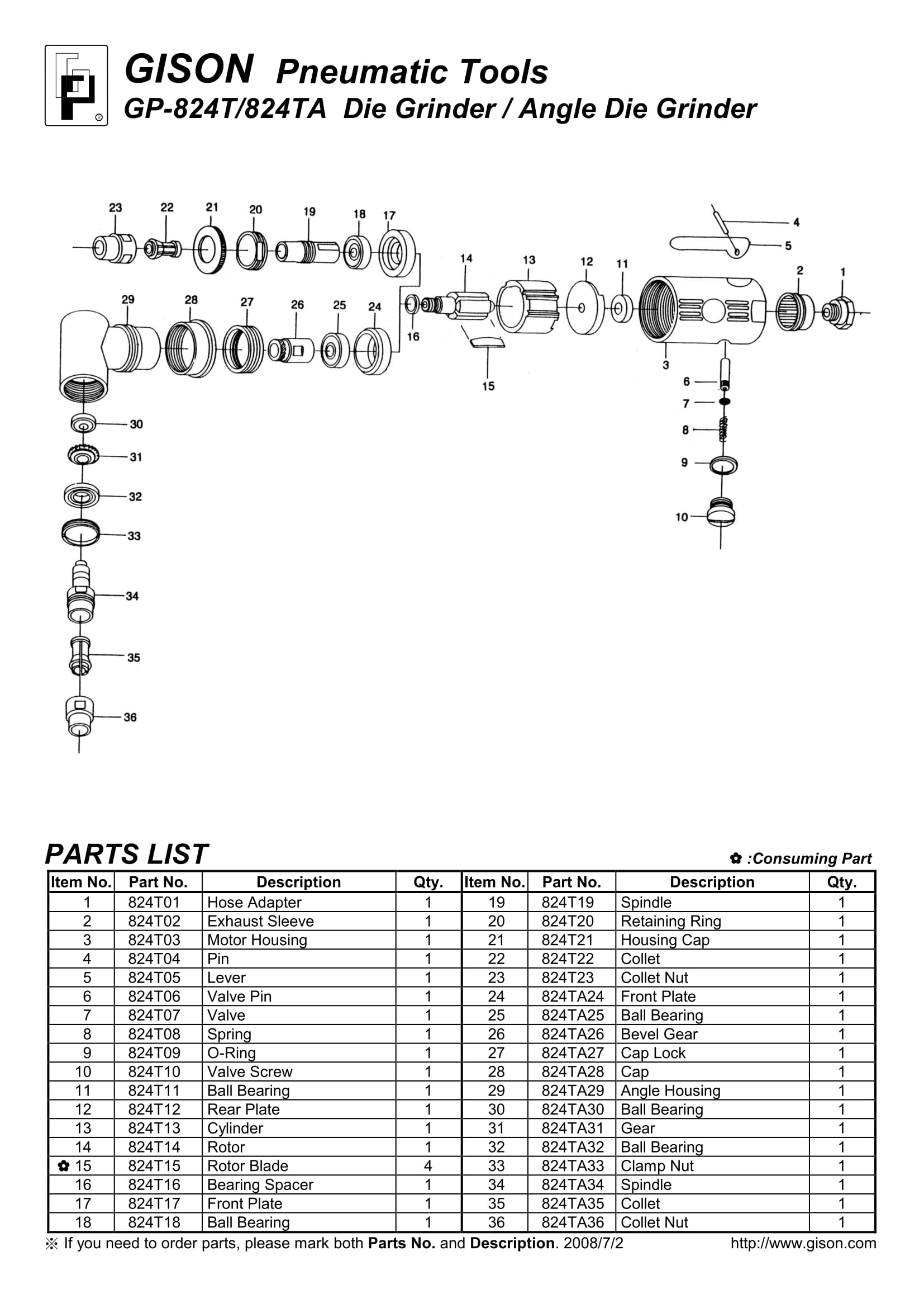 نقشه انفجاری فرز انگشتی بادی GP-824T